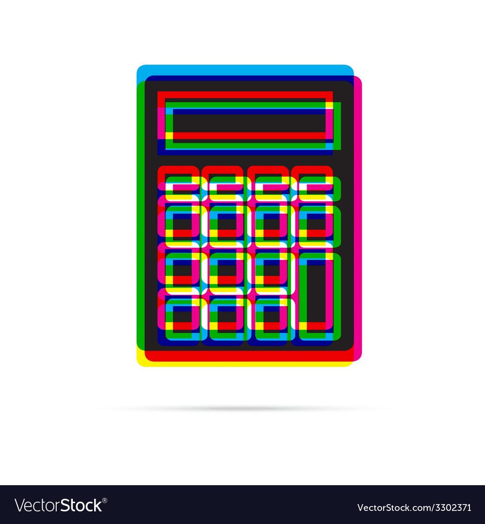 Calculator icon with shadow vector | Price: 1 Credit (USD $1)