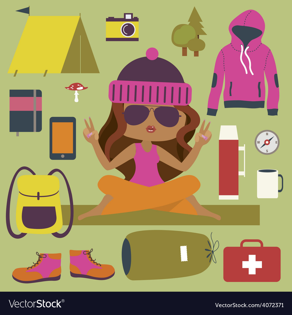 Camping clip art with cute girl vector | Price: 1 Credit (USD $1)