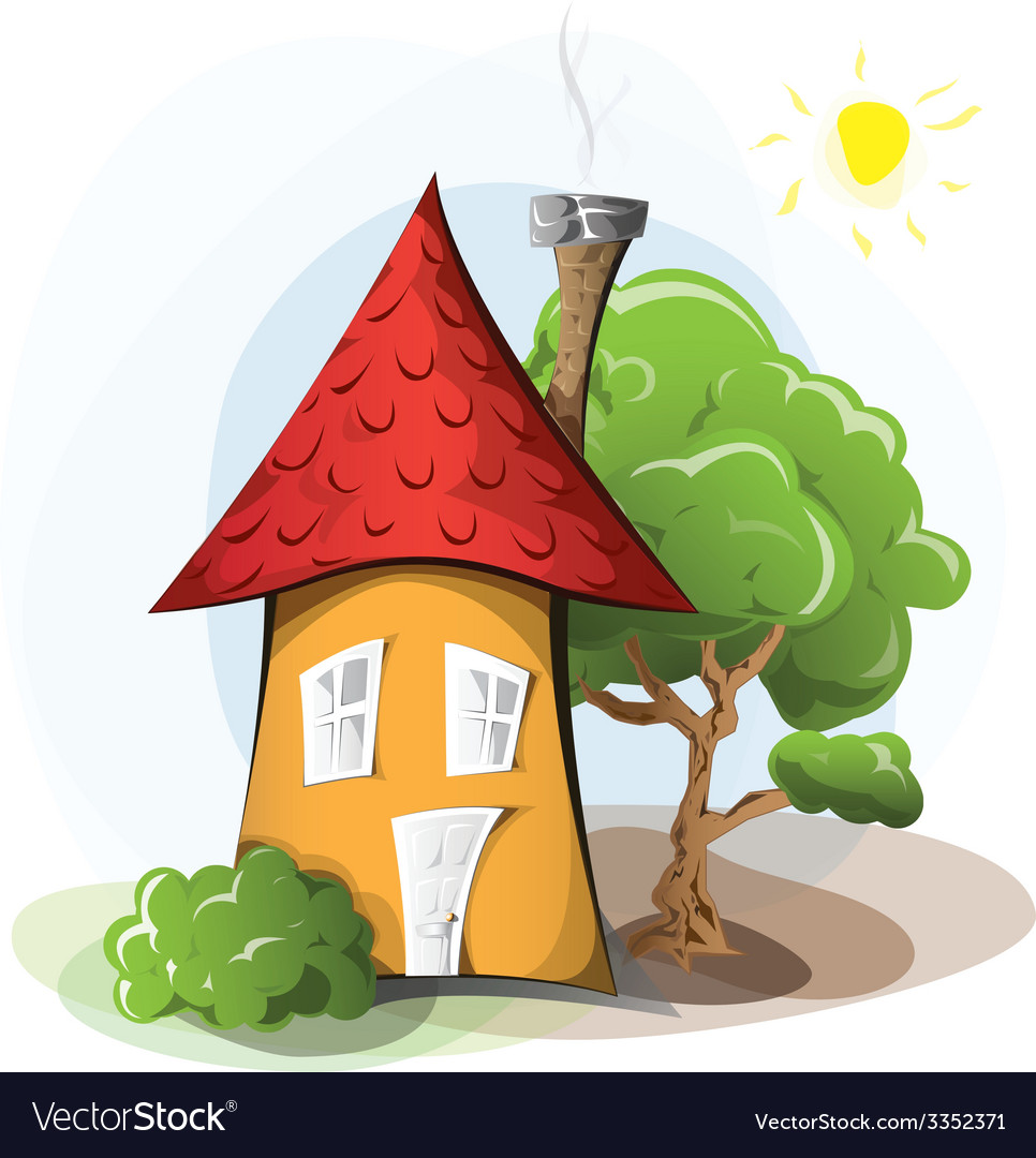 Cartoon house with tree vector | Price: 3 Credit (USD $3)