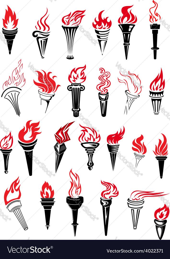Flaming torches with red flames vector | Price: 1 Credit (USD $1)