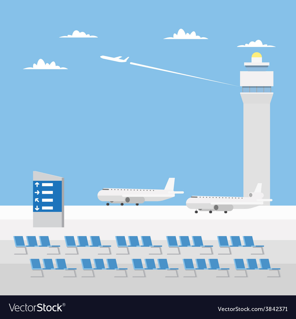Flat design of airport with nice sky vector | Price: 1 Credit (USD $1)