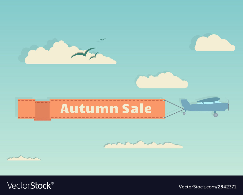Flying plane with autumn banner vector | Price: 1 Credit (USD $1)