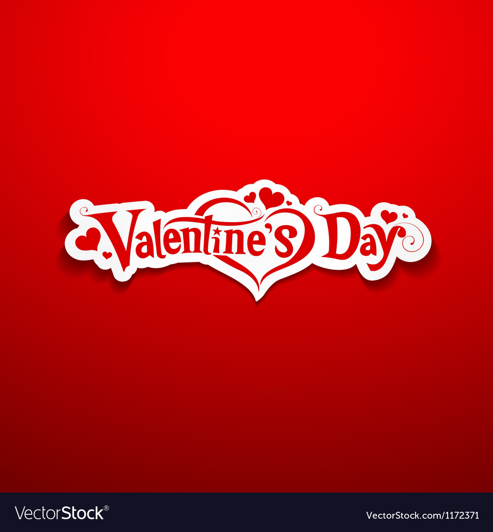 Happy valentine day lettering on red background vector | Price: 1 Credit (USD $1)