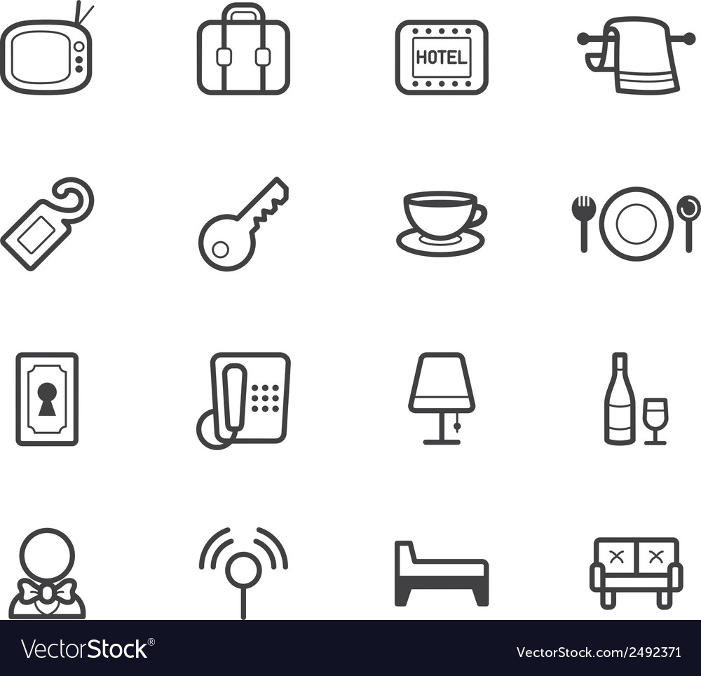 Hotel element black icon set on white background vector | Price: 1 Credit (USD $1)