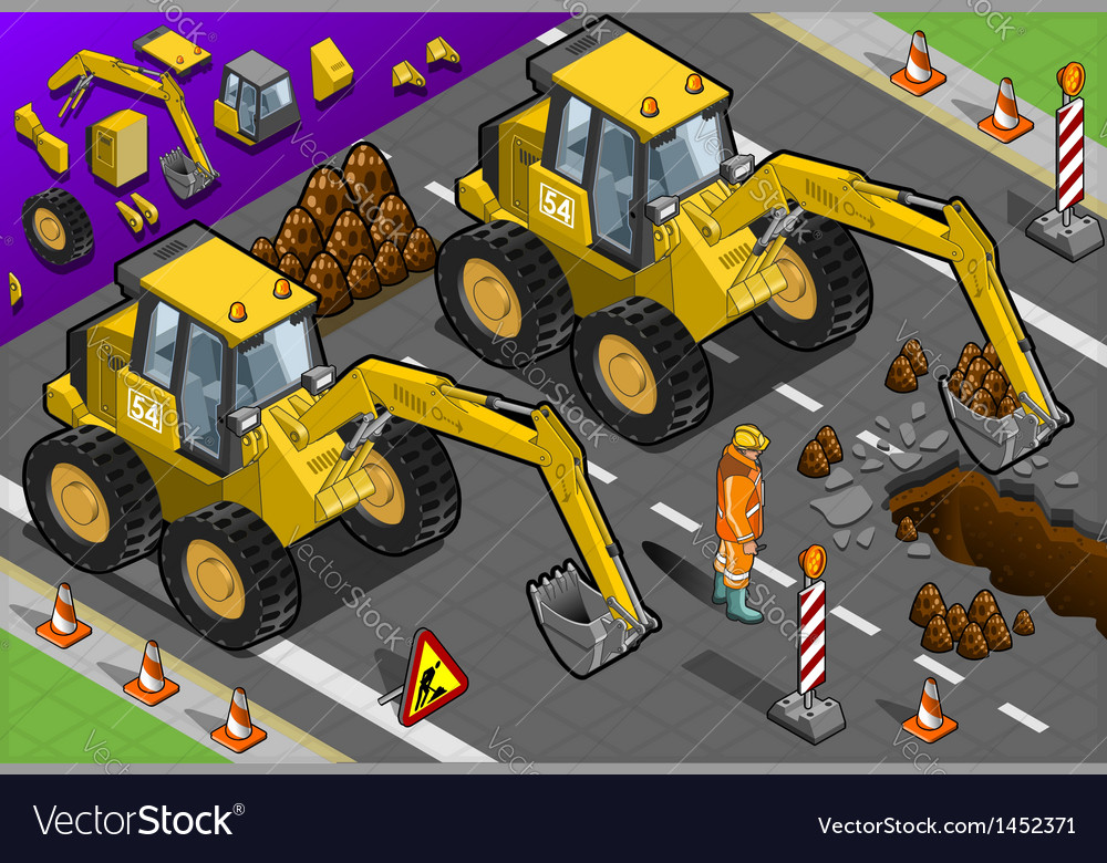 Isometric yellow excavator in front view vector | Price: 1 Credit (USD $1)