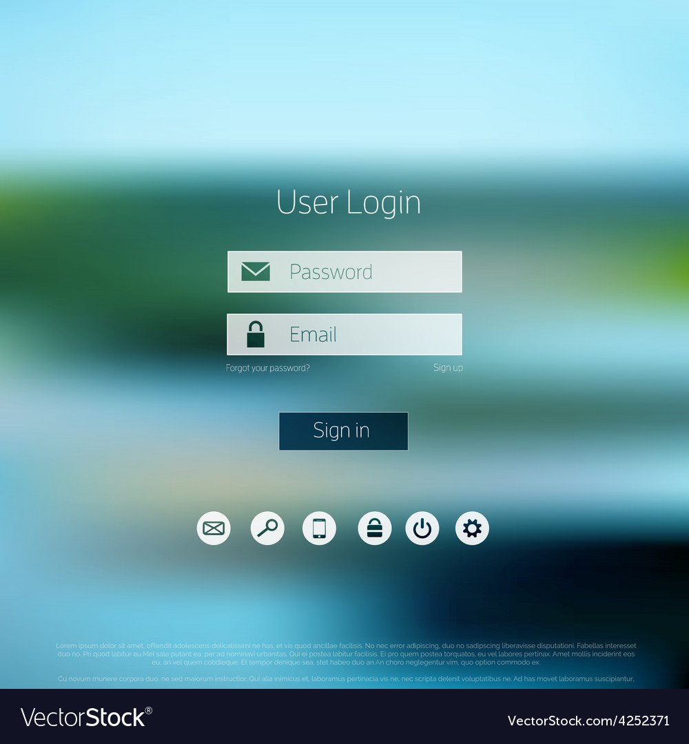 Login form page with blurred background web site vector | Price: 1 Credit (USD $1)