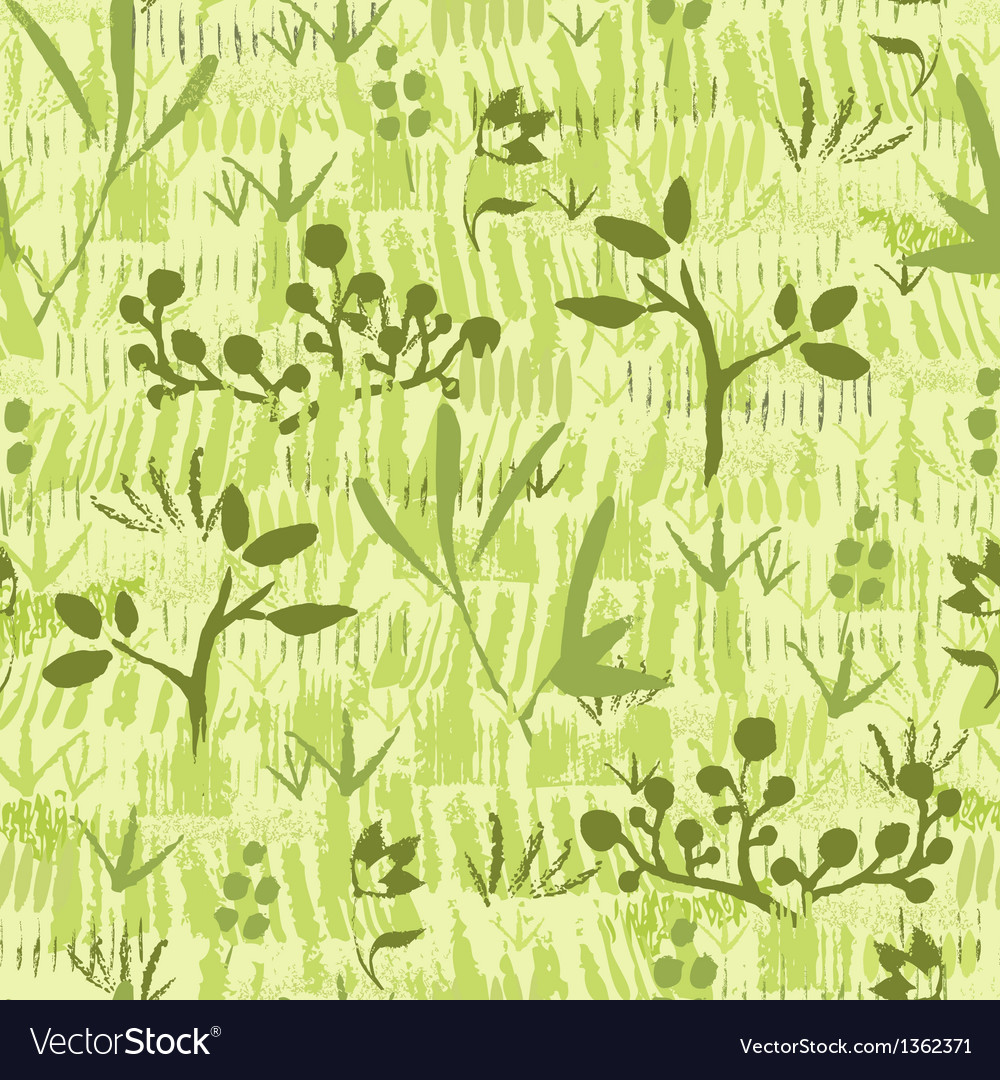 Paint textured green plants seamless pattern vector | Price: 1 Credit (USD $1)