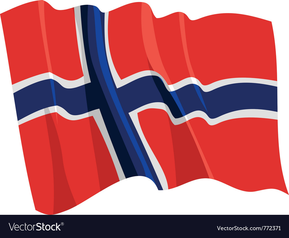 Political waving flag of norway vector | Price: 1 Credit (USD $1)
