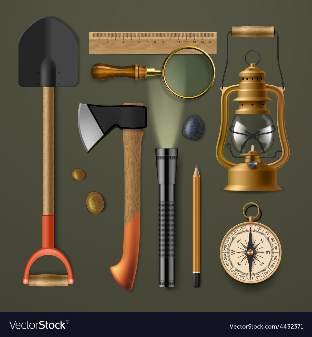 Set of camping hiking equipment vector | Price: 3 Credit (USD $3)