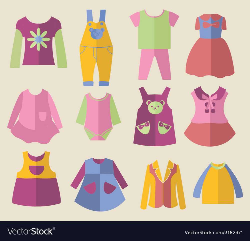 Set with collection of childrens clothing vector | Price: 1 Credit (USD $1)