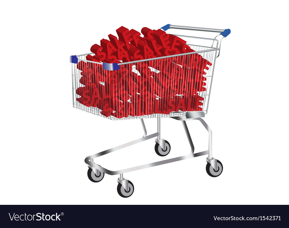 Shopping cart with sale symbol inside vector | Price: 1 Credit (USD $1)