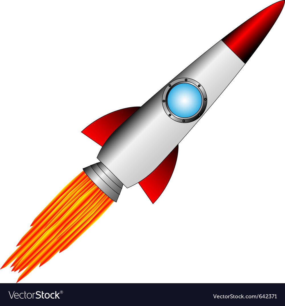 Starting rocket on white vector | Price: 1 Credit (USD $1)