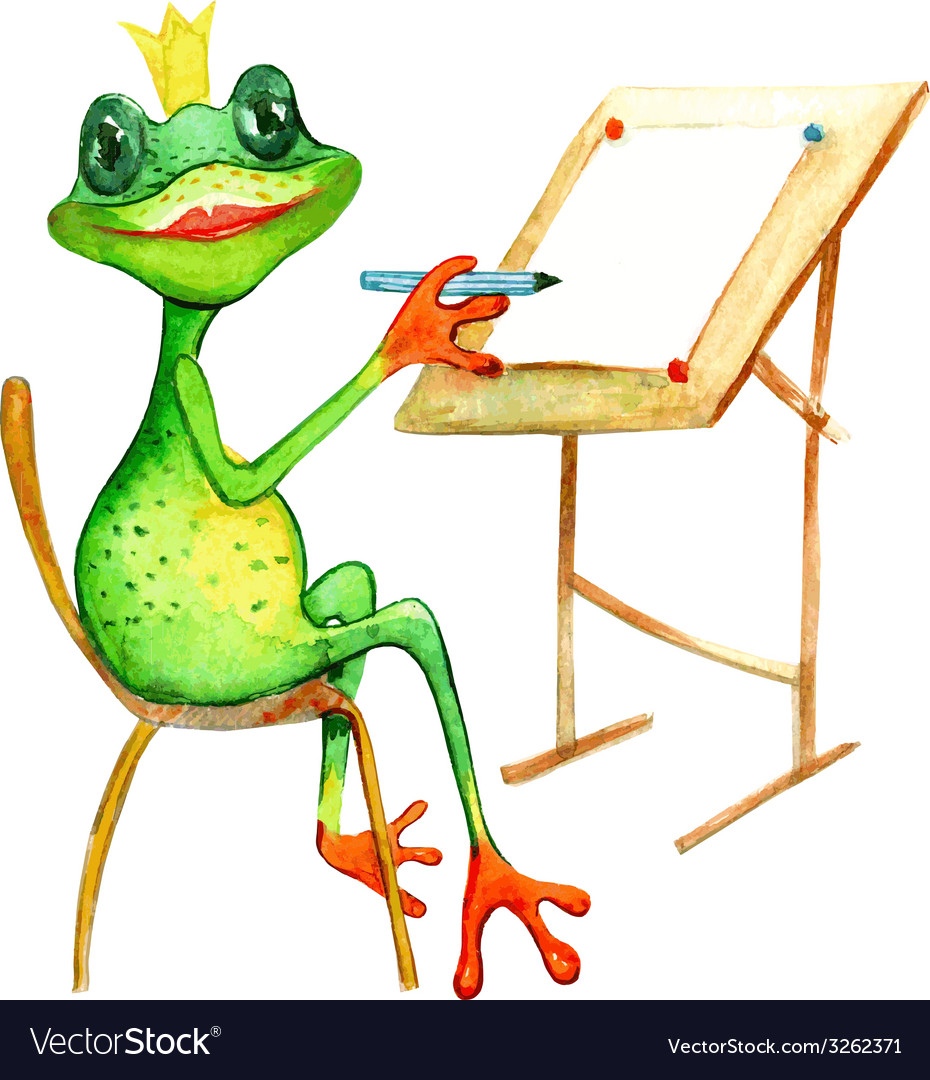 Watercolor painting with a frog who is drowing vector | Price: 1 Credit (USD $1)