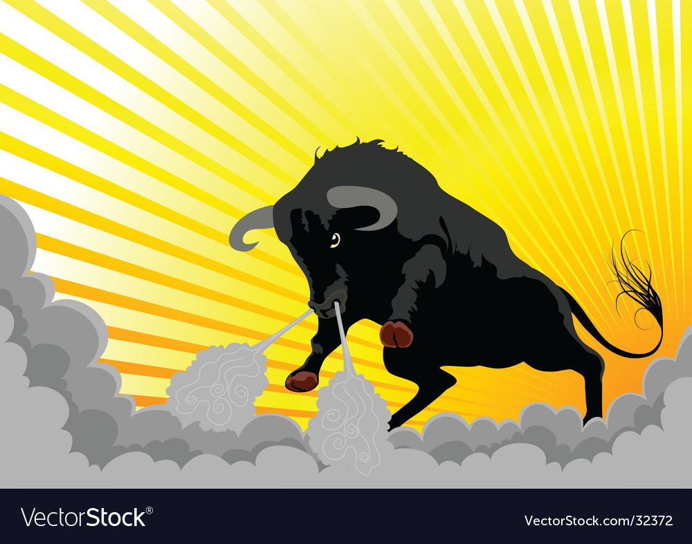 Aggressive bull vector | Price: 1 Credit (USD $1)