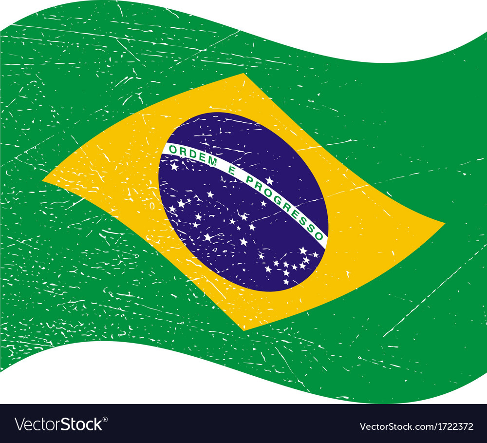 Brazil flag in grunge style bandeira do brasil vector | Price: 1 Credit (USD $1)