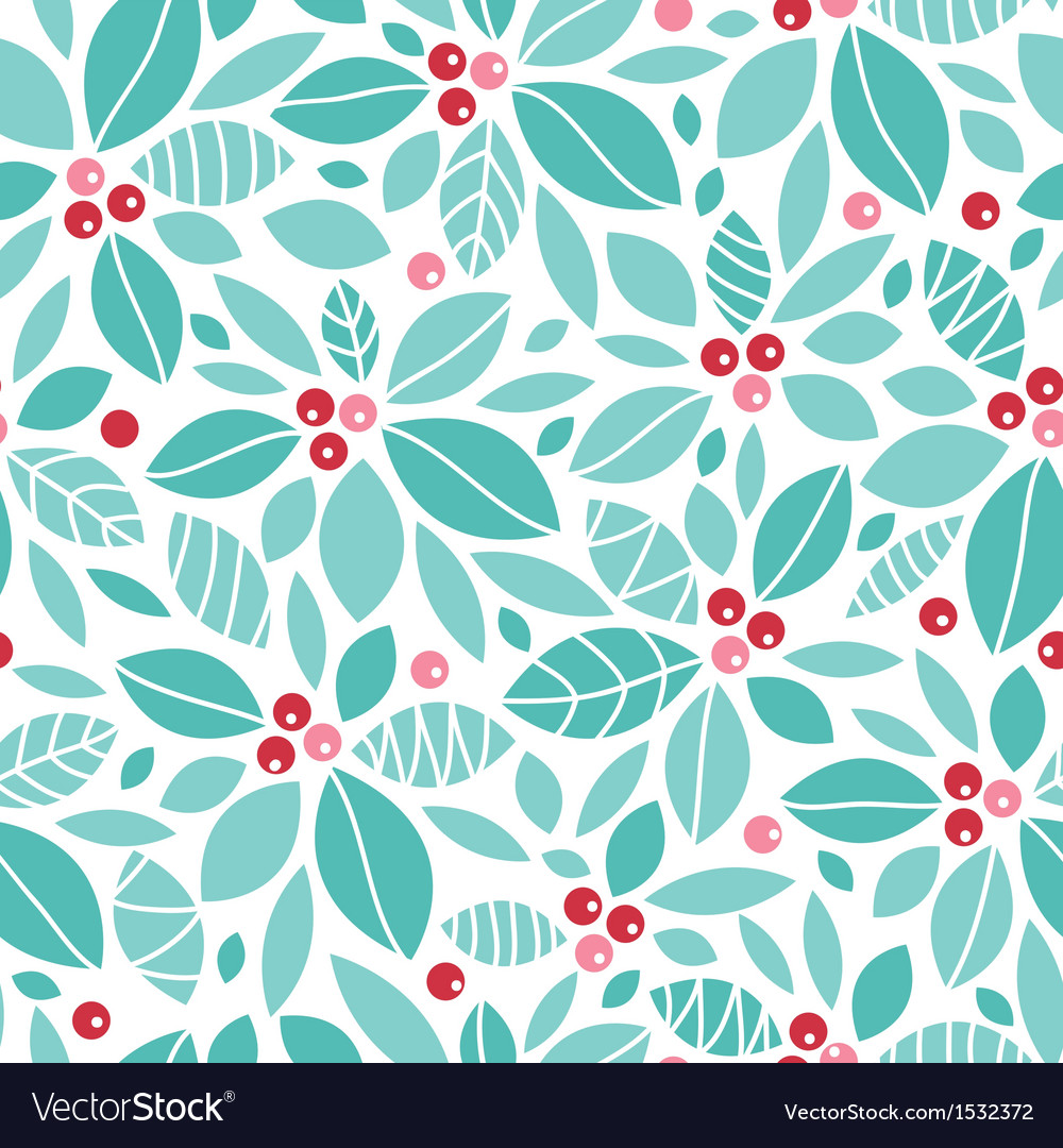 Christmas holly berries seamless pattern vector | Price: 1 Credit (USD $1)