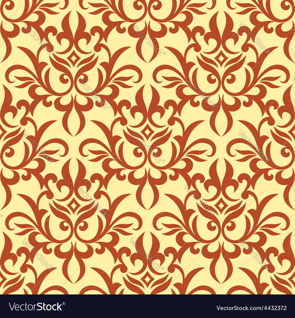 Damask seamless pattern with orange ornament vector | Price: 1 Credit (USD $1)