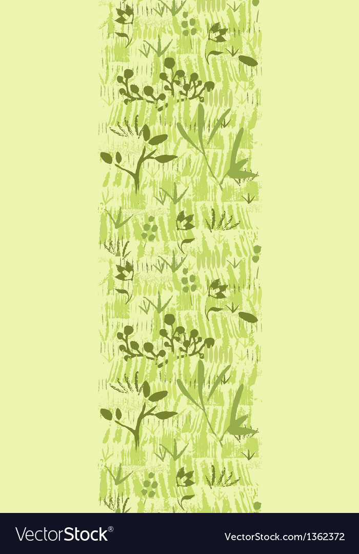 Paint textured green plants vertical seamless vector | Price: 1 Credit (USD $1)