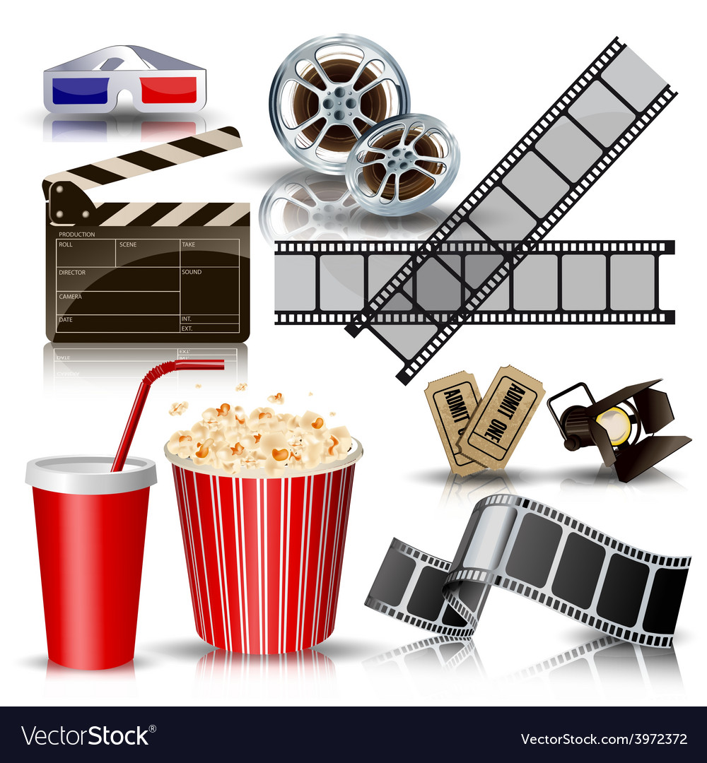 Set of objects for cinematography clapperfilm vector | Price: 3 Credit (USD $3)