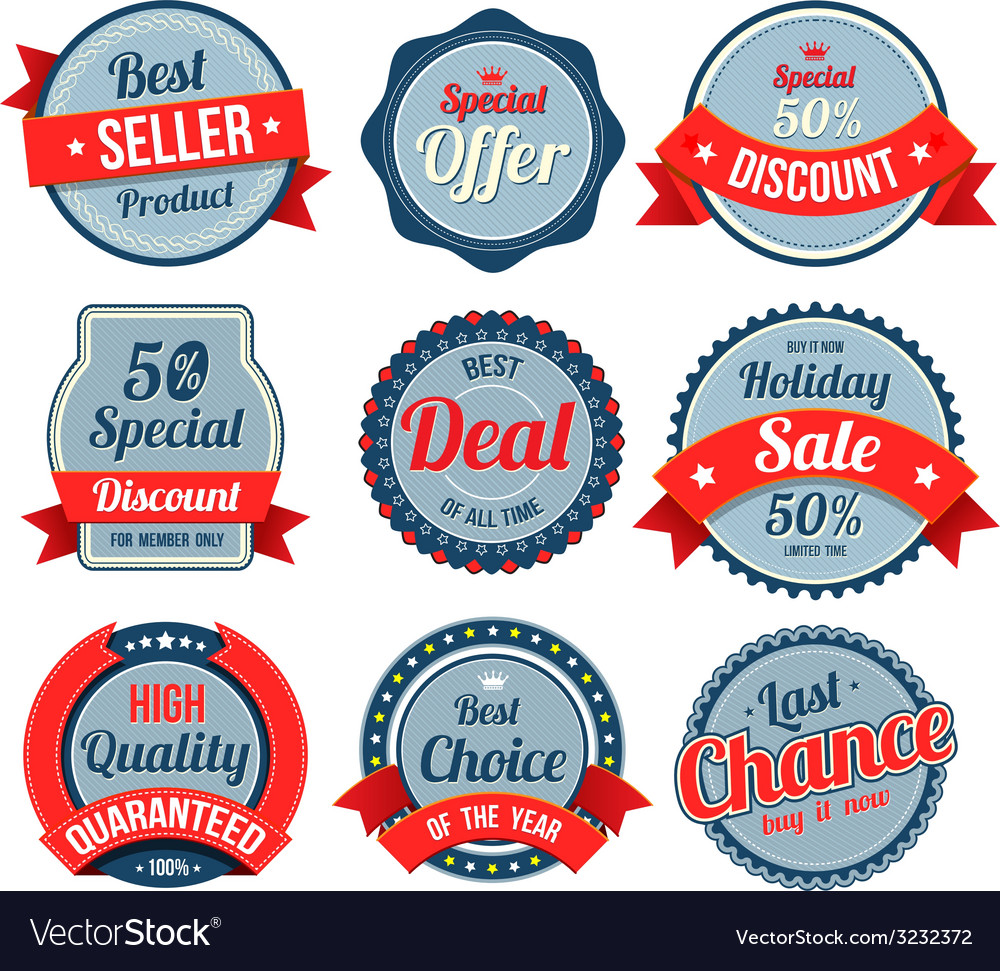 Set of retro vintage banner badges vector | Price: 1 Credit (USD $1)