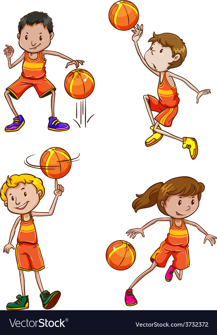 Young basketball players vector | Price: 1 Credit (USD $1)