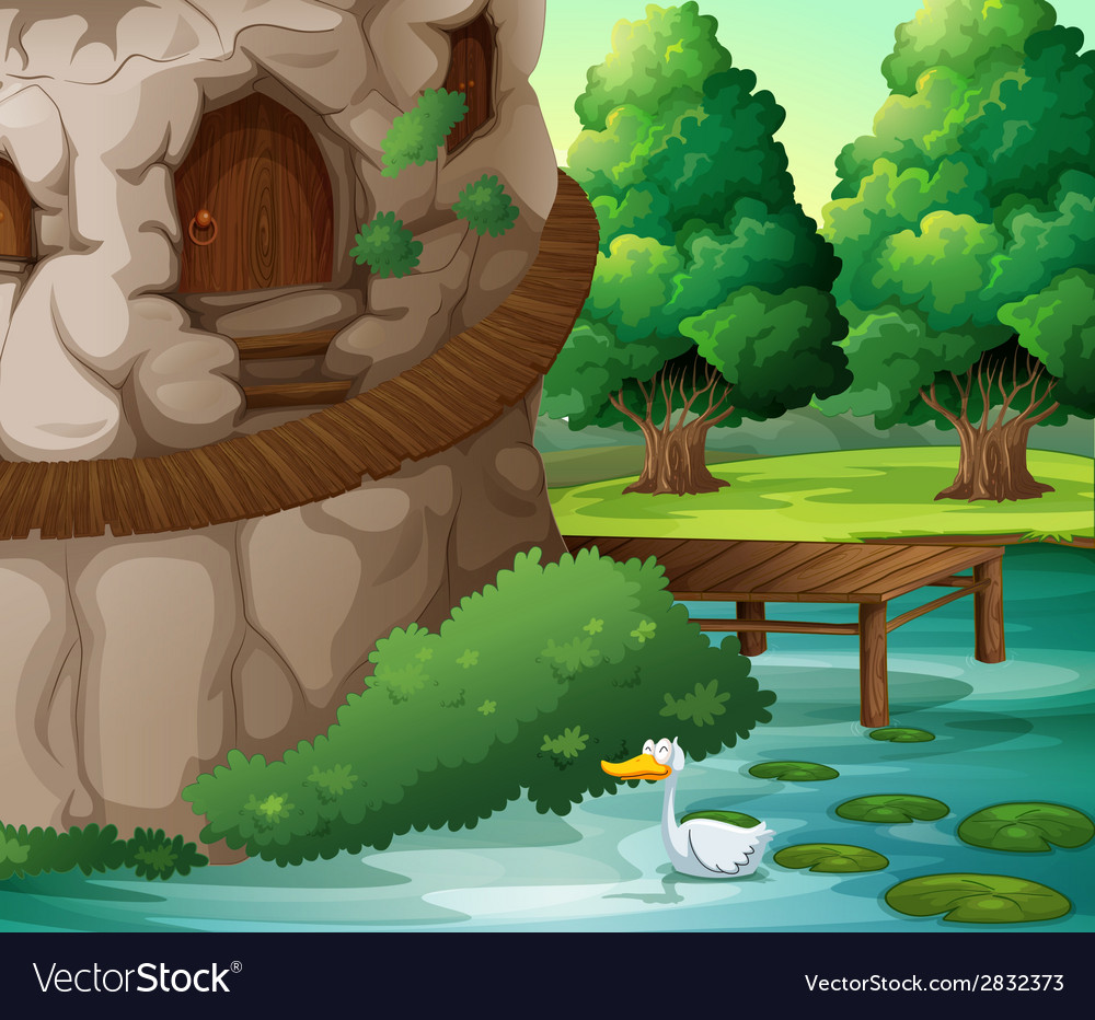 A beautiful scenery with a duck vector | Price: 1 Credit (USD $1)