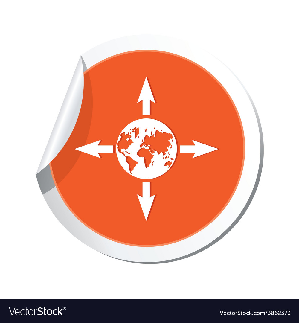 Arrows and globe orange label vector | Price: 1 Credit (USD $1)