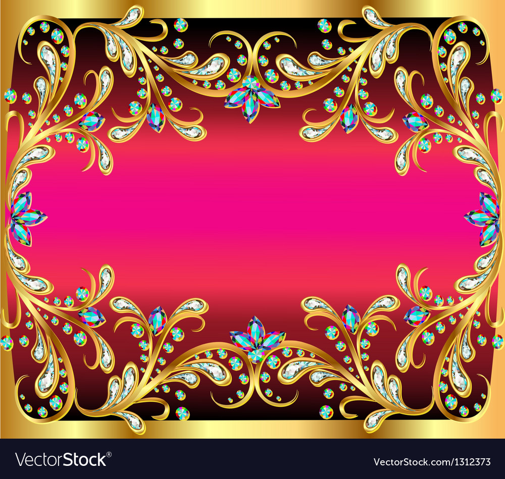 Background with precious stones gold pattern and t vector | Price: 1 Credit (USD $1)