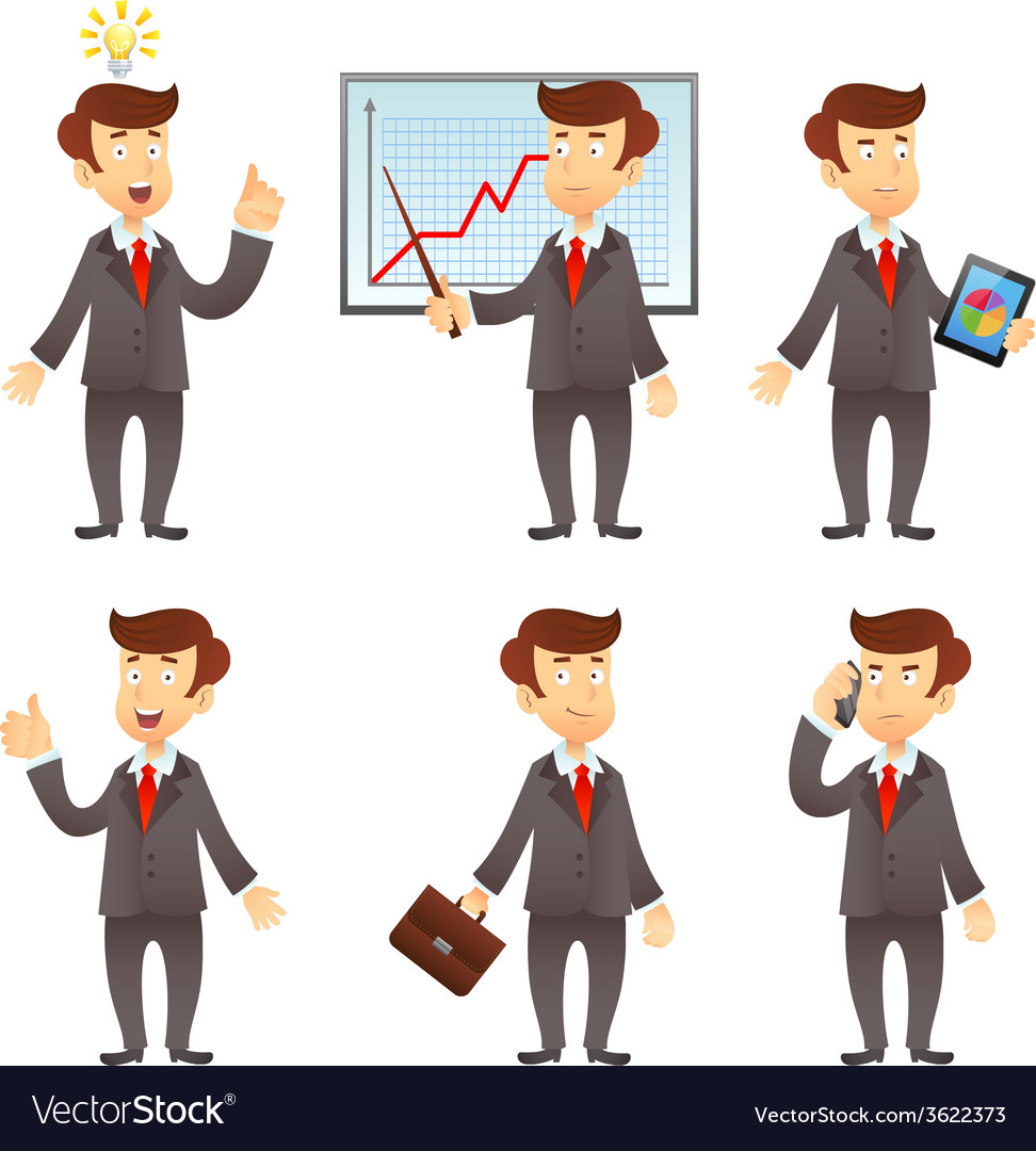 Businessman cartoon character vector | Price: 1 Credit (USD $1)