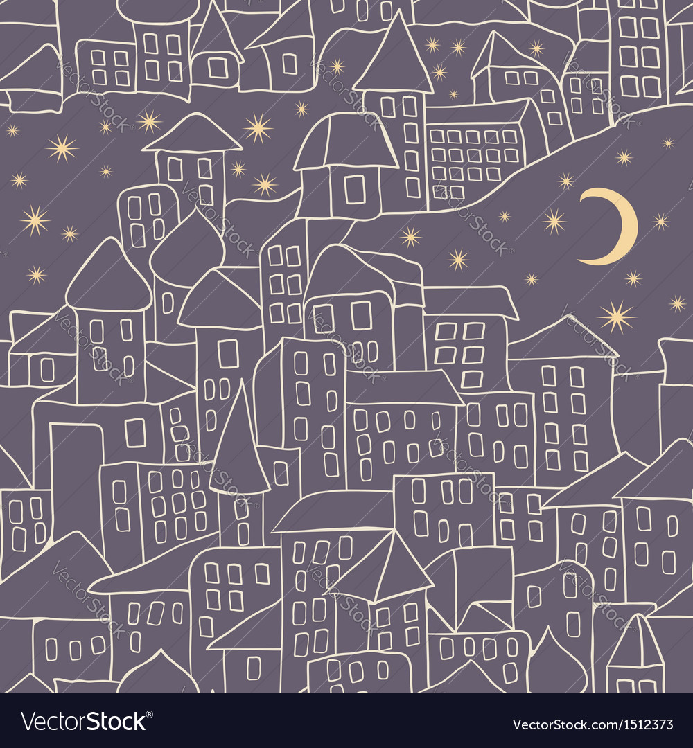 Cartoon city nightlife seamless pattern vector | Price: 1 Credit (USD $1)