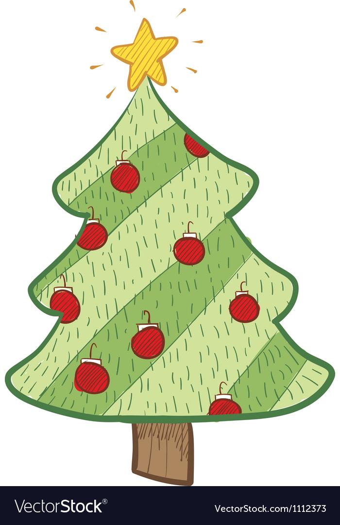 Doodle christmas tree stylish vector | Price: 1 Credit (USD $1)