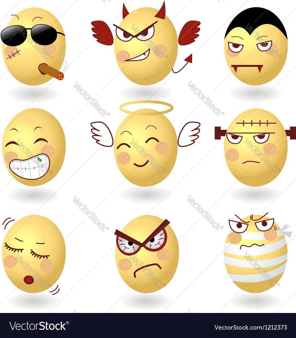 Eggs emotions set2 vector | Price: 3 Credit (USD $3)