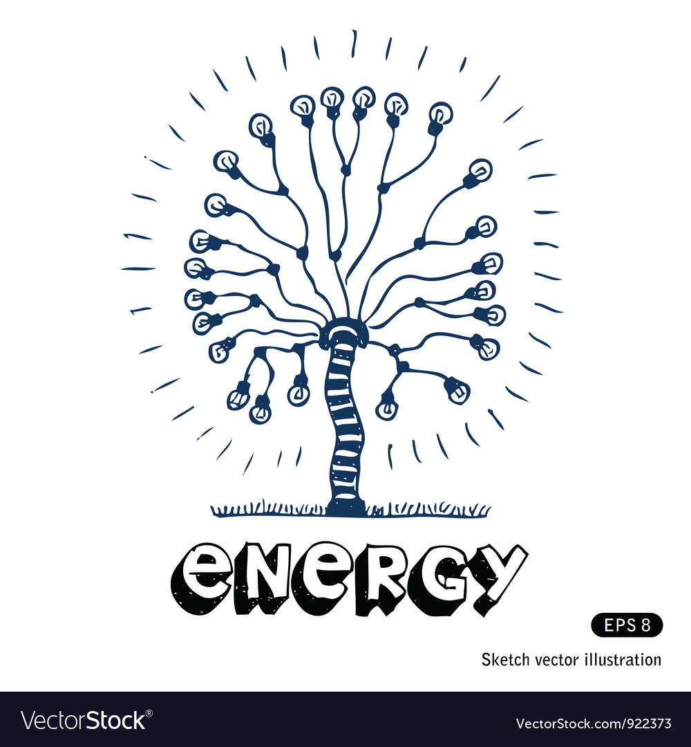 Energy tree of light bulbs vector | Price: 1 Credit (USD $1)