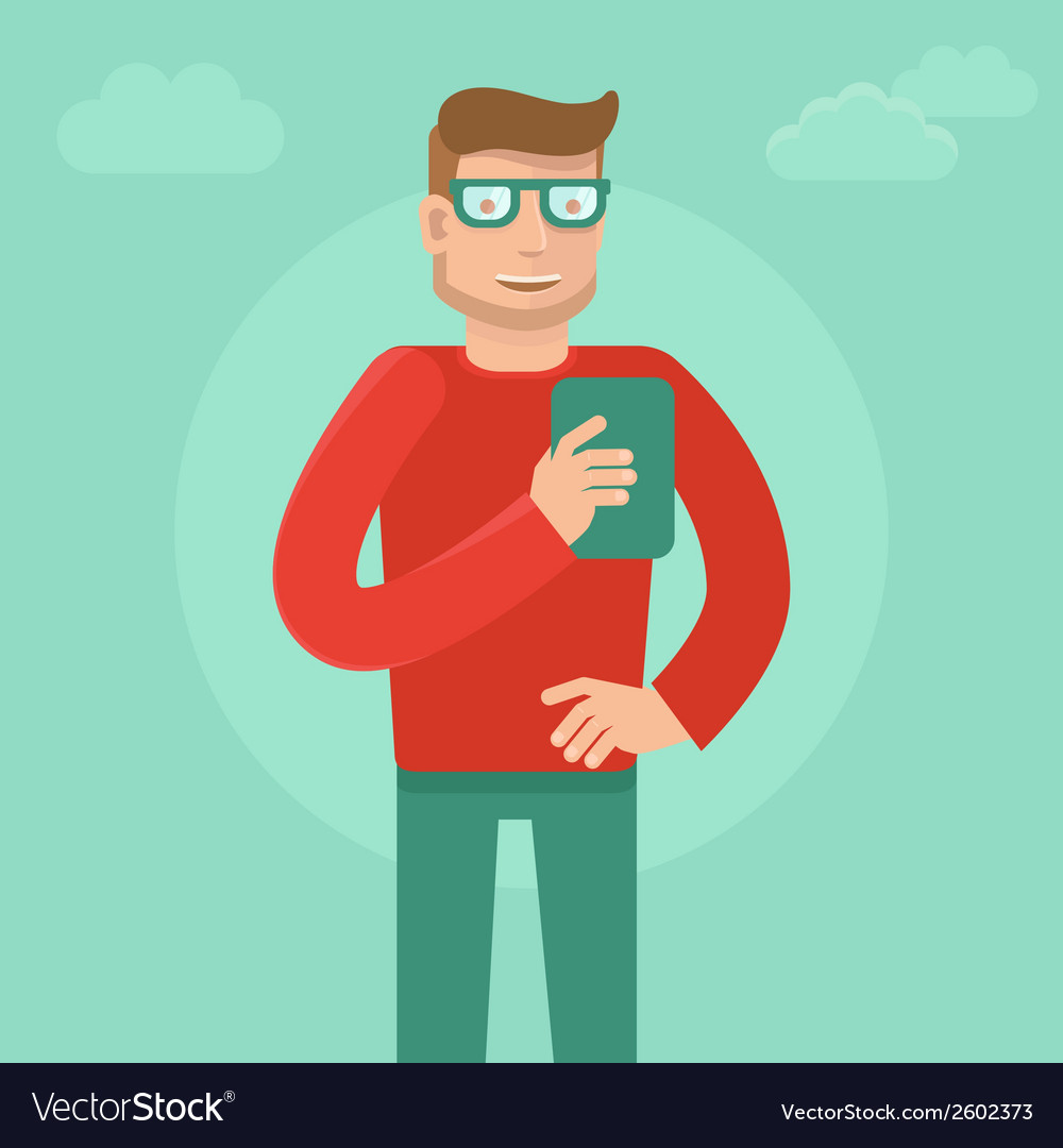 Man wearing glasses in flat style vector   Price: 1 Credit (USD $1)