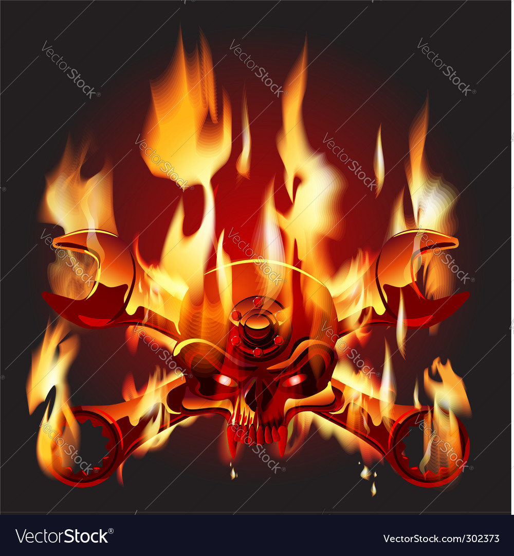 Metal jolly roger in flame vector