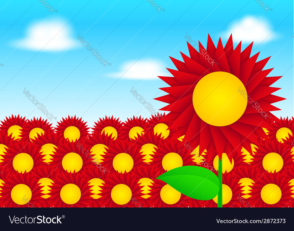 Red sun flower on blue sky background vector   Price: 1 Credit (USD $1)