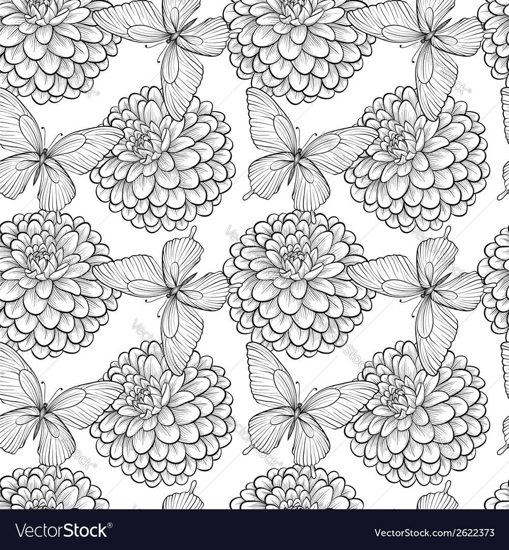 Seamless background with butterflies and dahlias vector | Price: 1 Credit (USD $1)