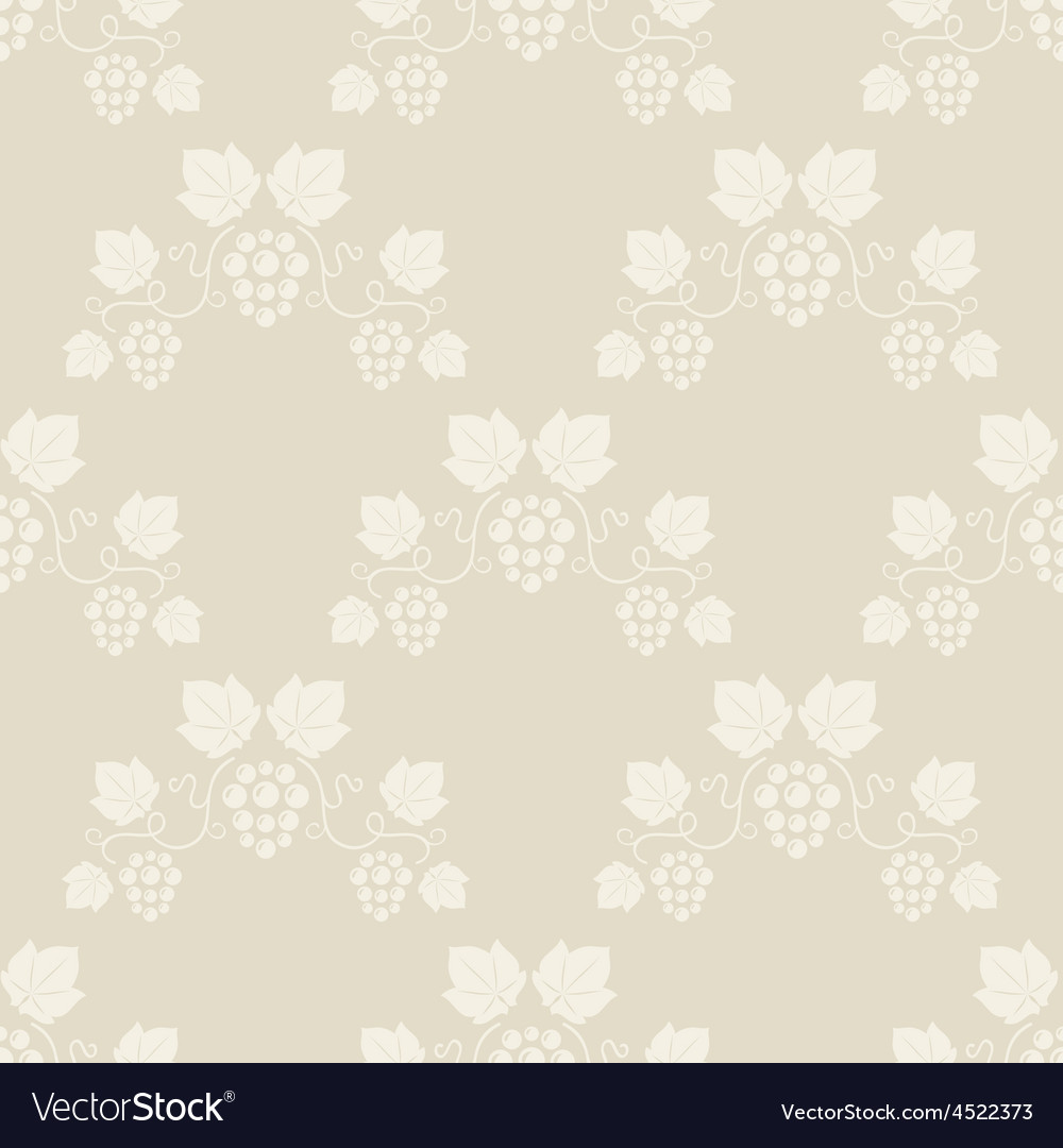 Seamless grape vines beige background vector | Price: 1 Credit (USD $1)