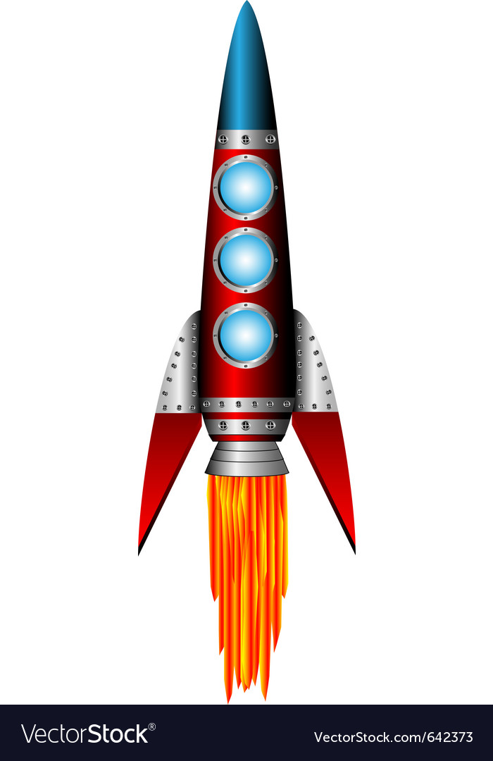 Starting red rocket on white vector | Price: 1 Credit (USD $1)