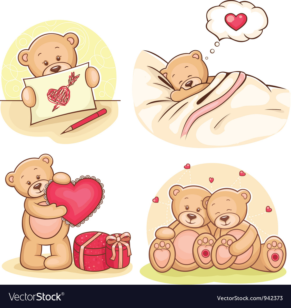 Valentine teddy bears collection vector | Price: 3 Credit (USD $3)