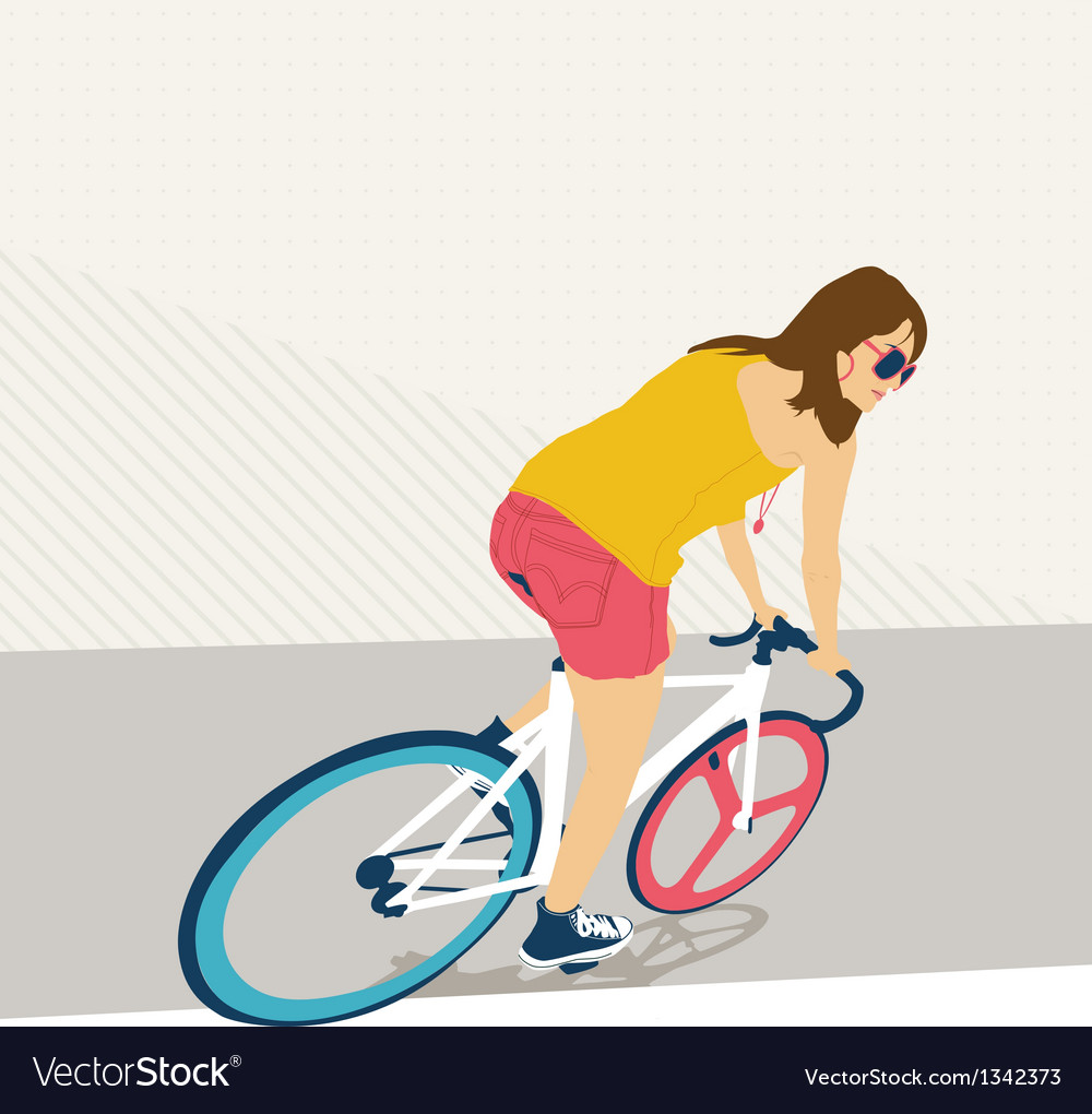 Young woman with fixie bicycle vector | Price: 1 Credit (USD $1)