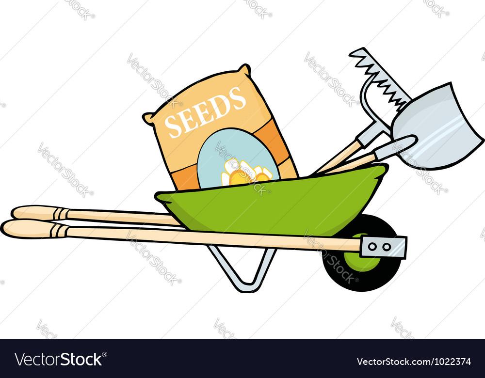 Barrow with seeds a rake and shovel vector | Price: 1 Credit (USD $1)