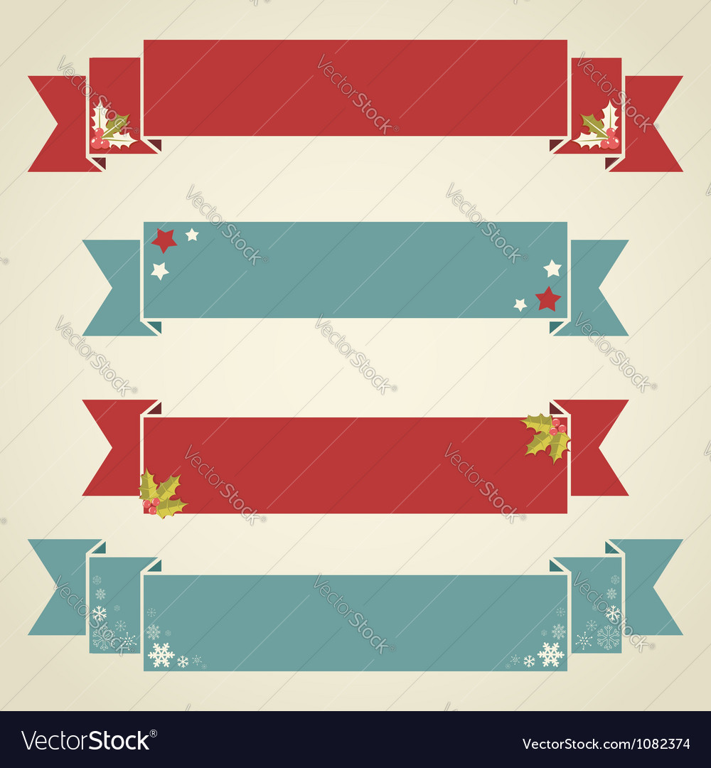 Christmas ribbons for text in retro style vector | Price: 1 Credit (USD $1)
