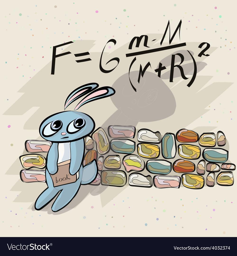 Cute bunny mathematician vector | Price: 1 Credit (USD $1)