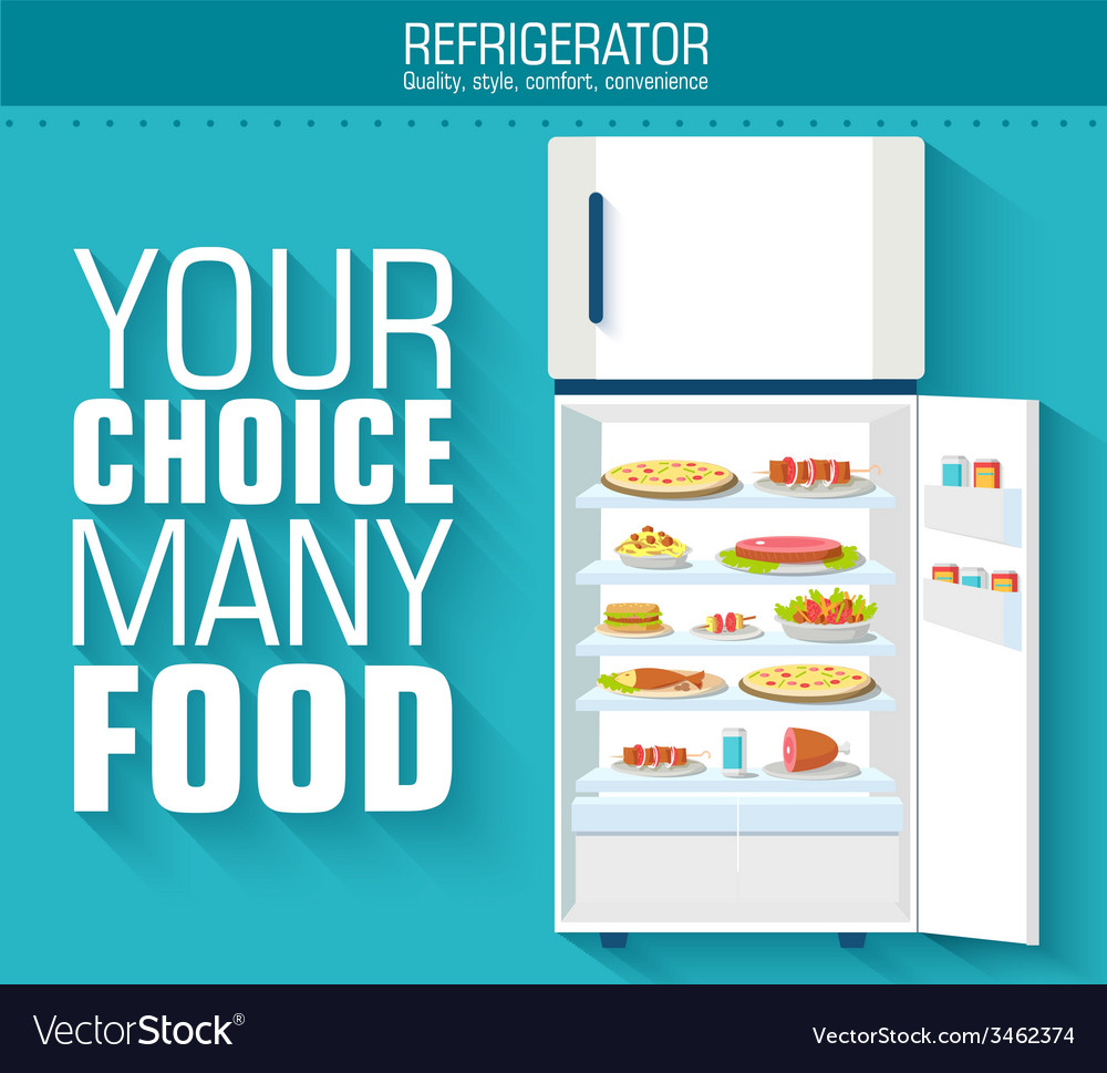Flat fridge full of many food background concept vector | Price: 1 Credit (USD $1)