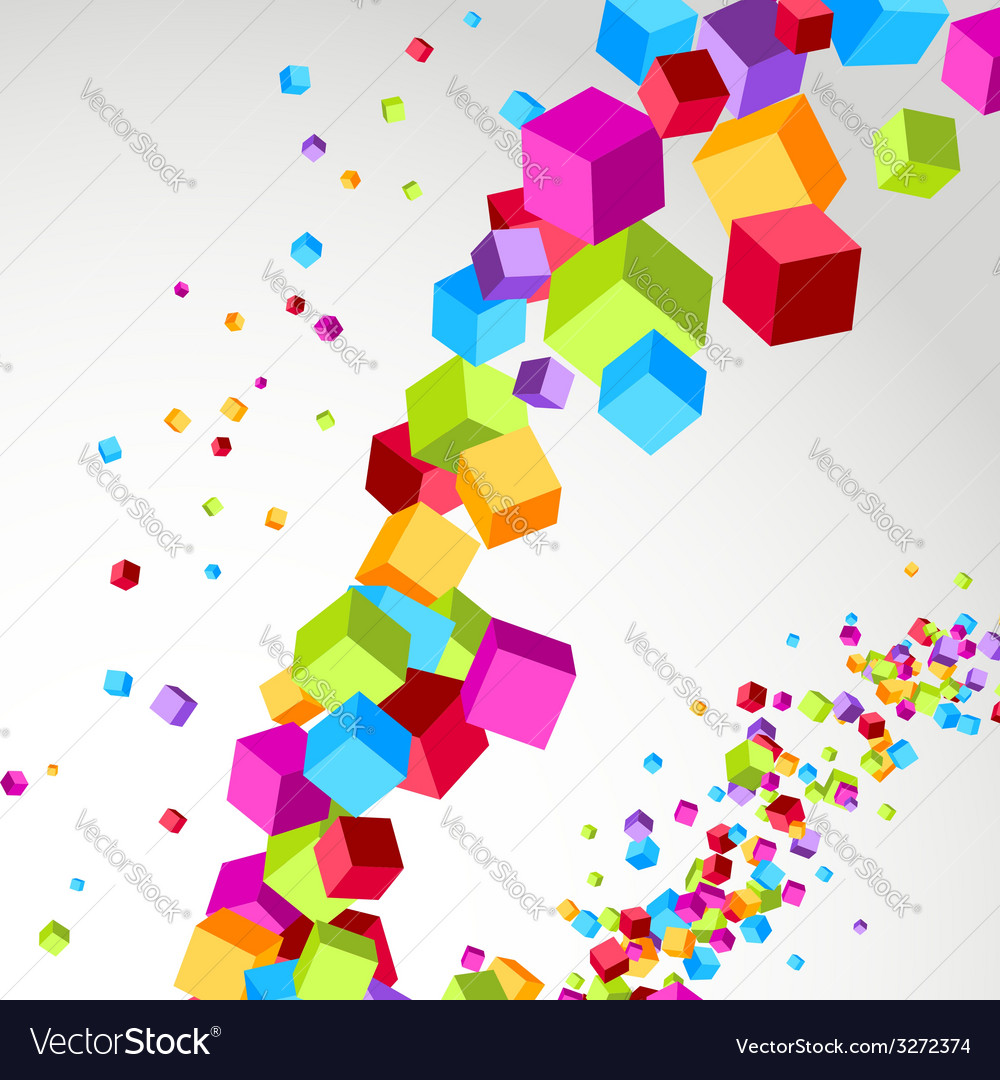 Flying cube colorful bright wave perspective vector