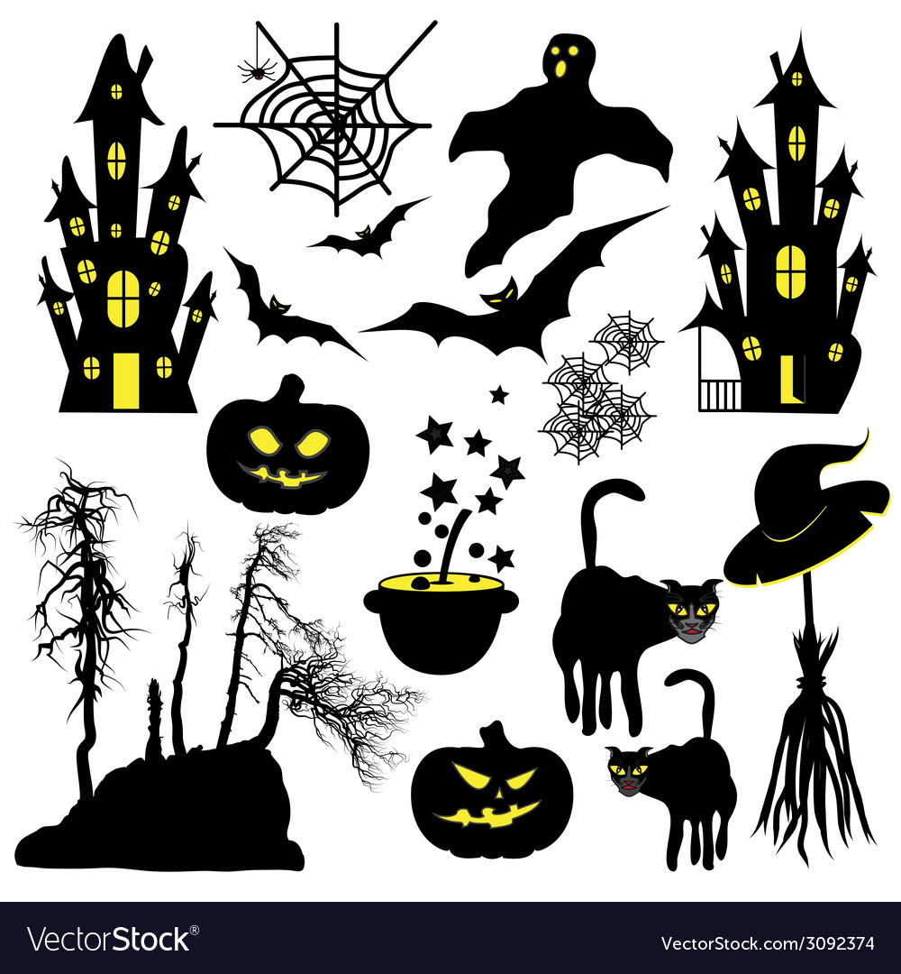 Halloween objects isolated on white background vector | Price: 1 Credit (USD $1)