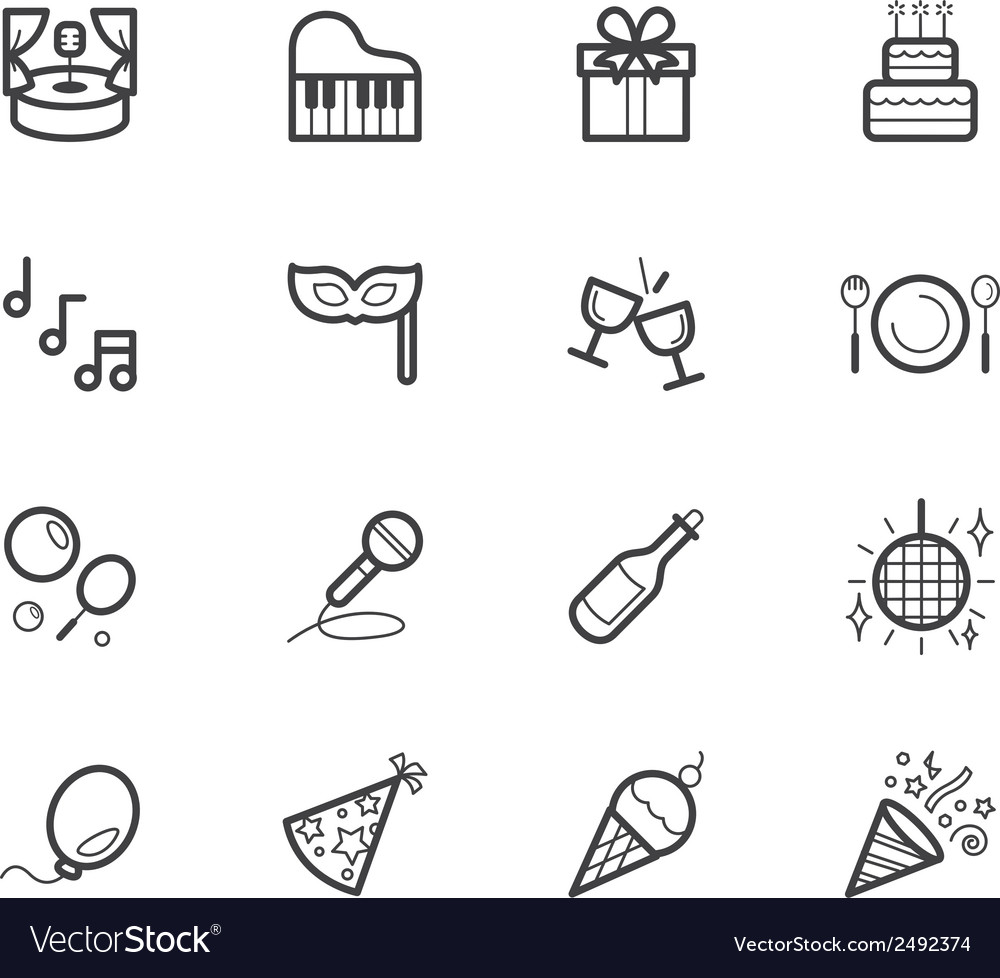 Party element black icon set on white background vector | Price: 1 Credit (USD $1)