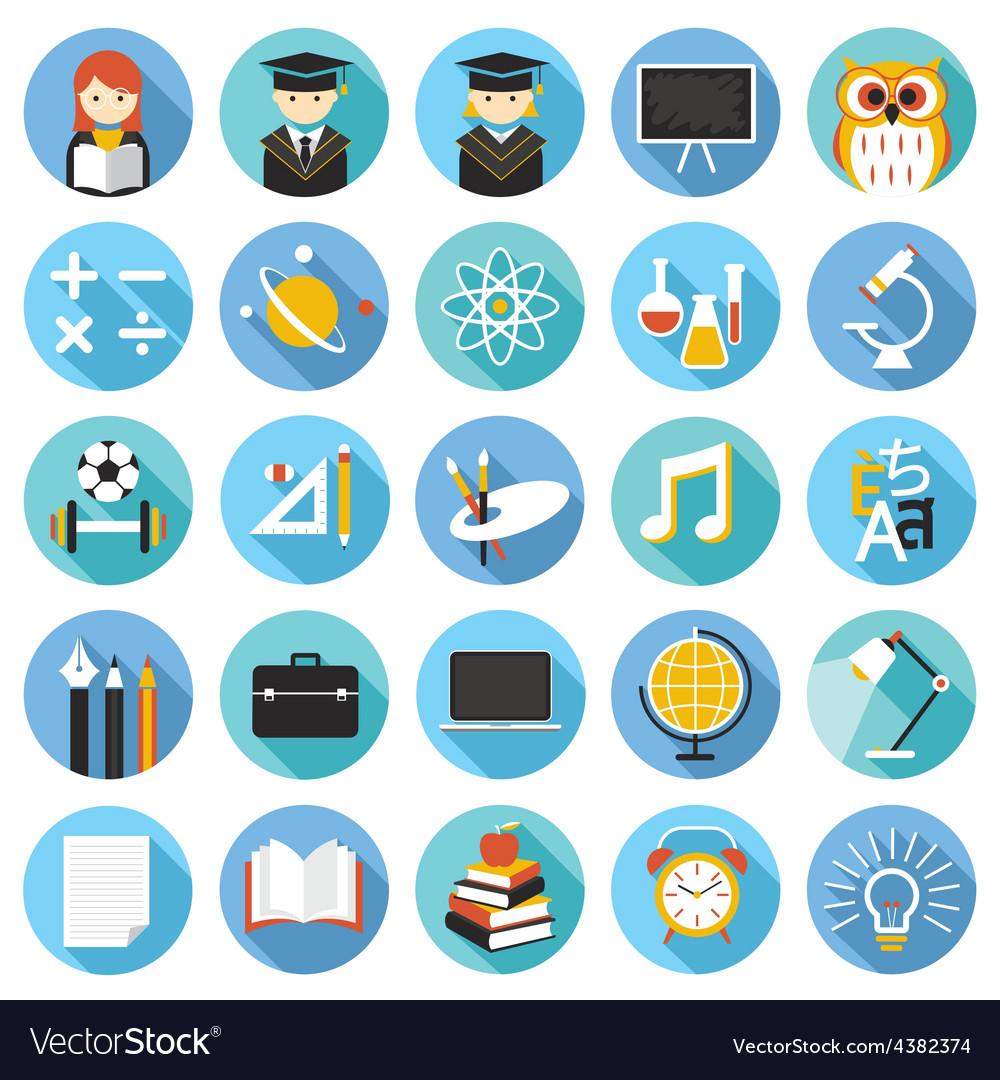 School education icons set vector | Price: 1 Credit (USD $1)