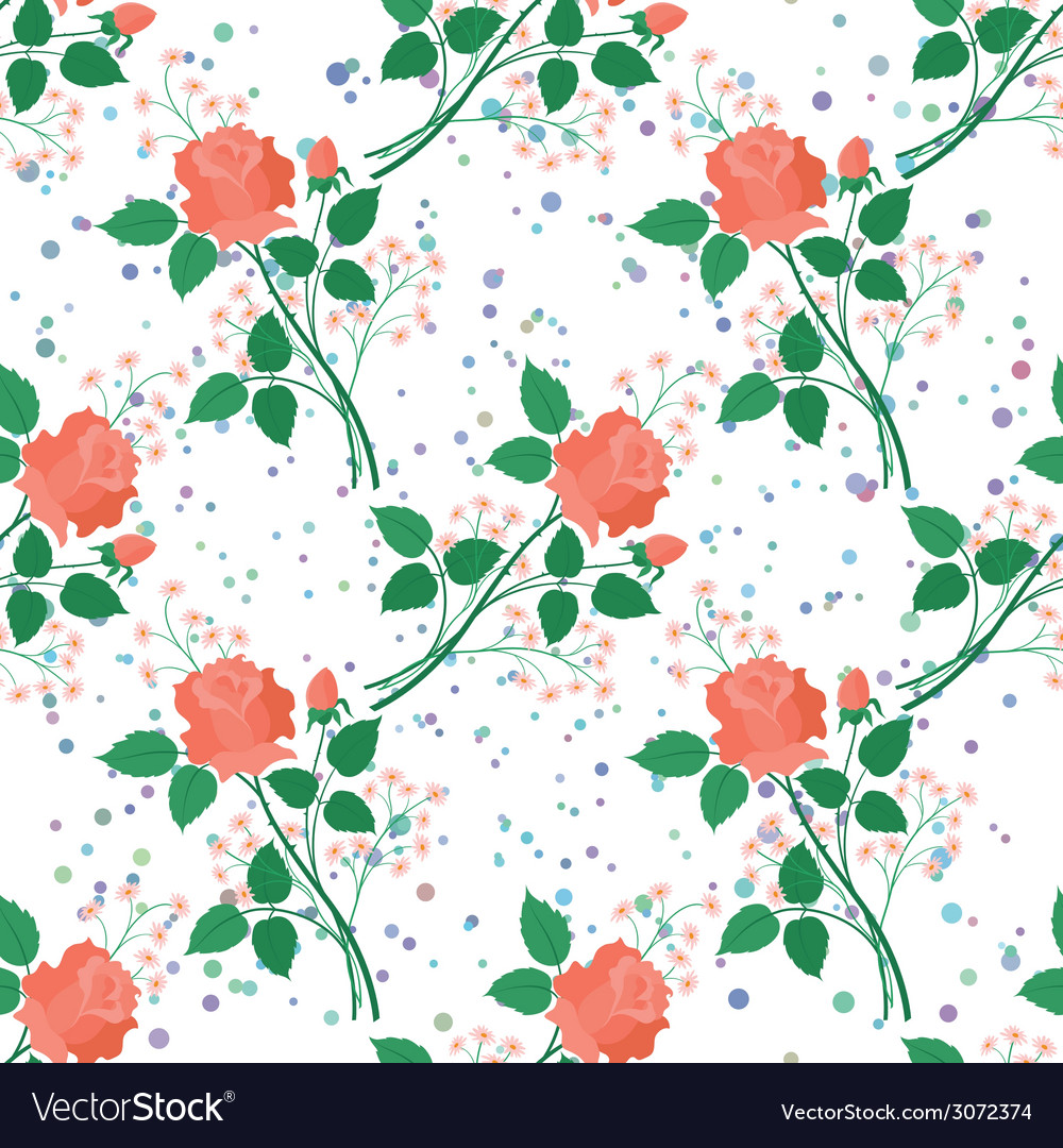 Seamless floral background roses vector | Price: 1 Credit (USD $1)